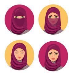 Beautiful fashion young arab woman icons set vector