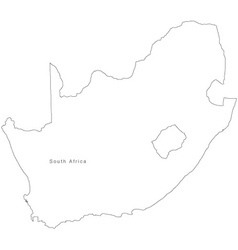 Black White South Africa Outline Map vector image