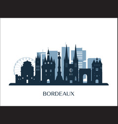 Bordeaux skyline monochrome silhouette vector