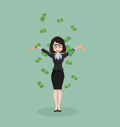 Business woman throwing dollar cash money vector