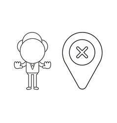 Businessman character with map pointer and x mark vector