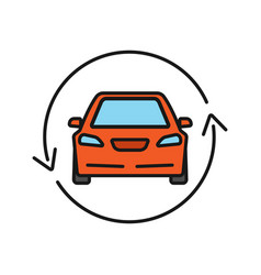 Car with circle arrow color icon vector