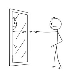 Cartoon of angry man blaming yourself in mirror vector