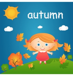 Cartoon of happy little girl in autumn landscape vector image