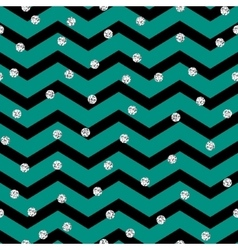 Chevron zigzag black and mint seamless pattern vector image