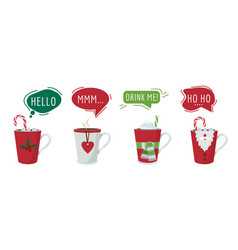 christmas drinks hot winter cocoa chocolate vector image