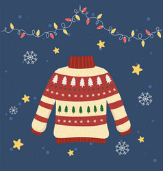 Christmas ugly sweater party decorative pine trees vector