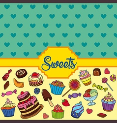 Colorful background with sweets vector