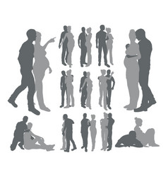 Couple silhouettes pregnant woman vector