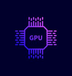 cpu gpu processor chip icon vector image