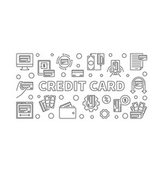 credit car concept banner in thin line style vector image