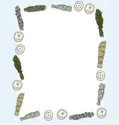 Cute cozy banner with sage smudge sticks and vector