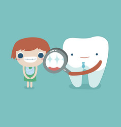 Dentist check up the girl teeth and tooth concept vector