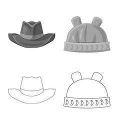 Design of headgear and cap symbol set of vector