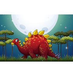 Dinosaur in the field on fullmoon night vector image