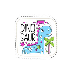 Dinosaur patch badge cute cartoon animal sticker vector