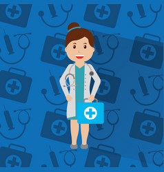 doctor woman with uniform standing holding kit vector image