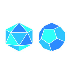 Dodecahedron icosahedron complicated figures icons vector