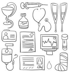 Doodle of medical hand draw collection vector