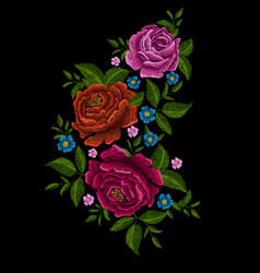 Embroidery peonies vector