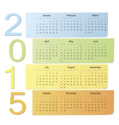 European color calendar 2015 vector image