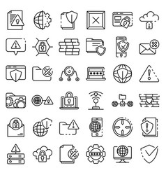 Firewall icons set outline style vector