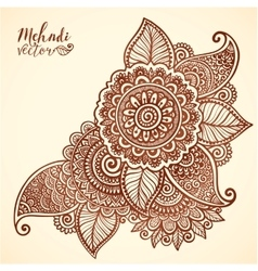 floral element in mehndi henna tattoo style vector image