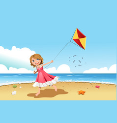 Girl flying kite vector