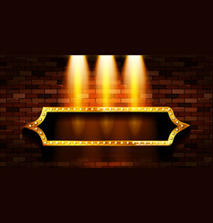 Gold frame in retro style vector