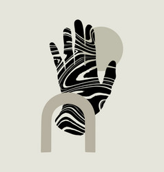 Hand drawn flat human hand with decorative vector