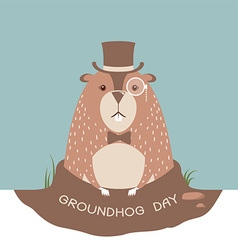 Happy Groundhog card background vector
