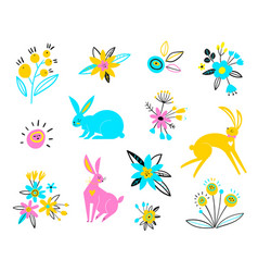 hares on a white background multi-colored vector image