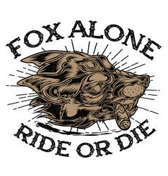 head fox alone cigar club motocye vector image