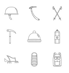 Highlander icons set outline style vector