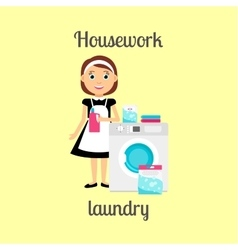 Housekeeper woman doing laundry vector