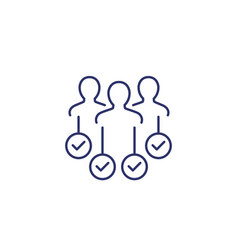 Hr people with check marks line icon vector