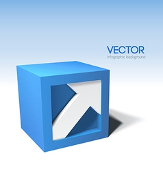Infographic 3D cube with arrow vector image