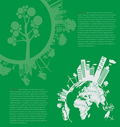 Infographics Green modern city living concept and vector