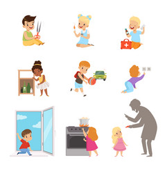 Kids in a dangerous situations set children vector