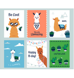 Lama posters banners with cartoon alpacas and vector