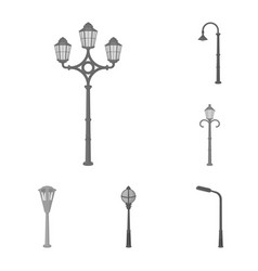 Lamp post monochrome icons in set collection for vector