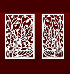 Laser cut panels with floral pattern die vector