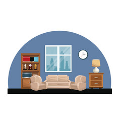 living room sofa armchair clock lamp small table vector image