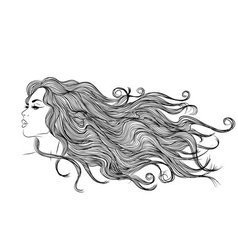 long hair girl profile outline monochrome drawing vector image
