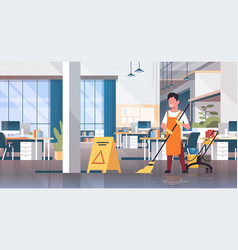 Man mopping floor male cleaner janitor in uniform vector