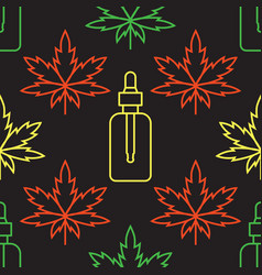 marijuana leaf with cosmetic bottle with cbd oil vector image