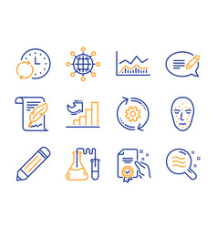 Message face biometrics and chemistry lab icons vector