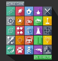 Mobile Game Flat Icon Long Shadow vector image