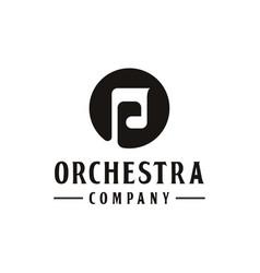 Music notes vintage retro logo icon vector