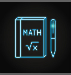 Neon math book icon in line style vector